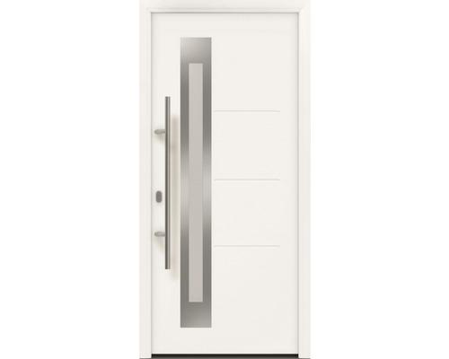 Porte d''entrée EcoStar ISOPRO IP 780S 110x210 cm tirant gauche RAL 9016 blanc signalisation avec ensemble de ferrures, poignée barre en acier inoxydable, cylindre profilé de sécurité avec 5 clés