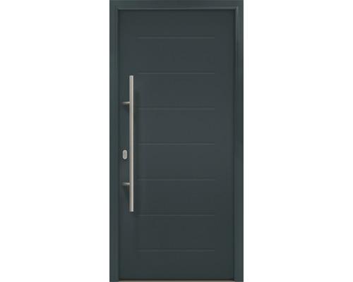 Porte d''entrée EcoStar ISOPRO IP 015 110x210 cm tirant gauche RAL 7016 gris anthracite avec ensemble de ferrures, poignée barre en acier inoxydable, cylindre profilé de sécurité avec 5 clés