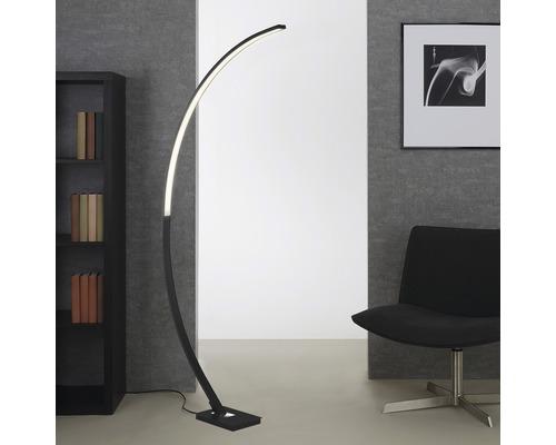 Lampadaire forme arceau LED à intensité lumineuse variable 18W 1950 lm 3000 K blanc chaud PIN noir h 1650 mm 1 ampoule
