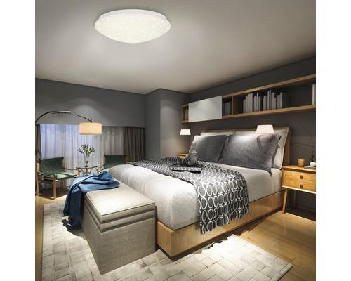 Plafonnier LED à intensité lumineuse variable 22W 2200lm 3000-6500K blanc chaud-blanc naturel avec télécommande infrarouge + décor étoilé hxØ 100x390mm blanc 1ampoule