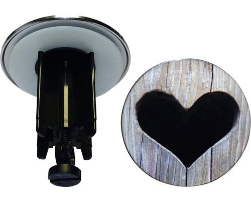 Bouchon excentrique Cœur en bois 63,8mm