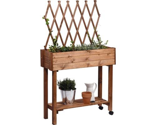 Jardinière surélevée sur pilotis avec treillis pour plantes, à roulettes 79 x 28,5 x 130 cm laqué brun