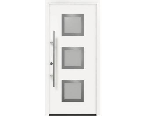 Porte d''entrée EcoStar ISOPRO Secur IPS 810S 110x210 cm tirant gauche RAL 9016 blanc signalisation avec ensemble de ferrures, poignée barre en acier inoxydable, cylindre profilé de sécurité avec 5 clés