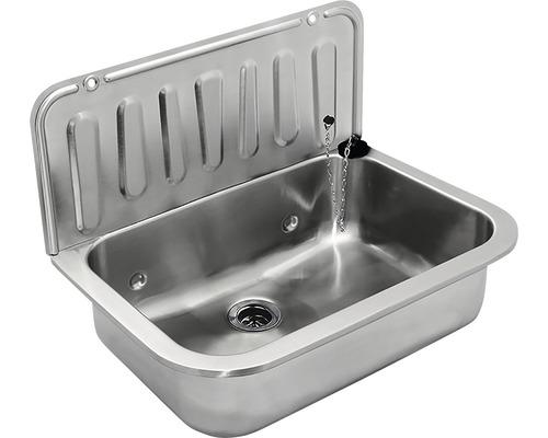 Bac d''évier avec vanne 49,5 cm acier inoxydable sans grille