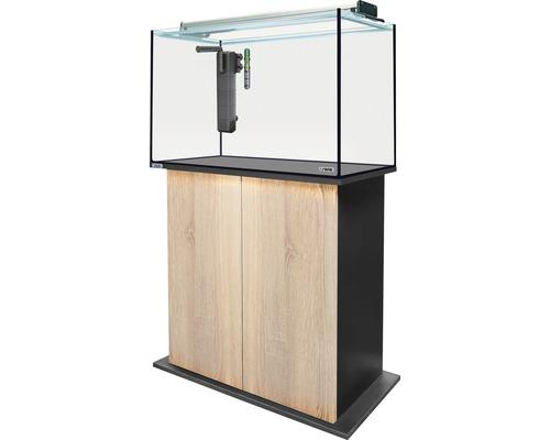 Kit complet d''aquarium sera AquaTank 160l Fixture avec éclairage LED, chauffage, filtres, meuble bas hauteur 80 cm Sonoma