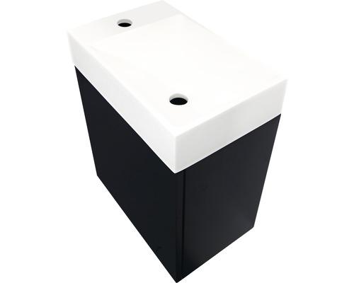 Meubles de salle de bain invités Allibert JAVA 40 cm vasque blanc façade + corps noir mat