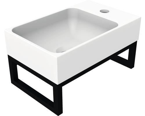 Ensemble lavabo Allibert IRON 40 cm blanc avec fixation murale noir