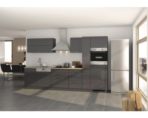 Cuisine complète Held Möbel Mailand graphite à haute brillance 330 cm avec électroménager 623.1.6211-0