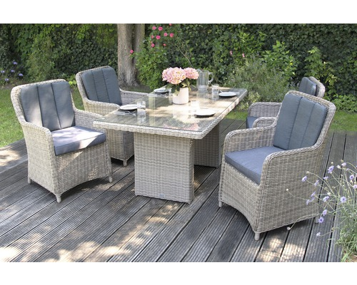 Loungeset Ria Polyrattan 4-Sitzer 5-teilig grau inkl. Polster und Tisch mit 5 mm Glasplatte 160 x 90 x 75 cm