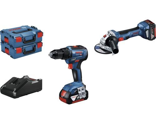 Kit pro 18V Bosch Professional perceuse-visseuse sans fil GSR 18V-55 + meuleuse d''angle sans fil GWS 18V-7 (125mm) avec 2x batteries (4,0Ah), chargeur et 2x L-BOXX 136