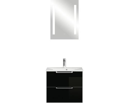 Ensemble de meubles de salle de bains Pelipal Xpressline 3065 verre noir 63 cm avec miroir
