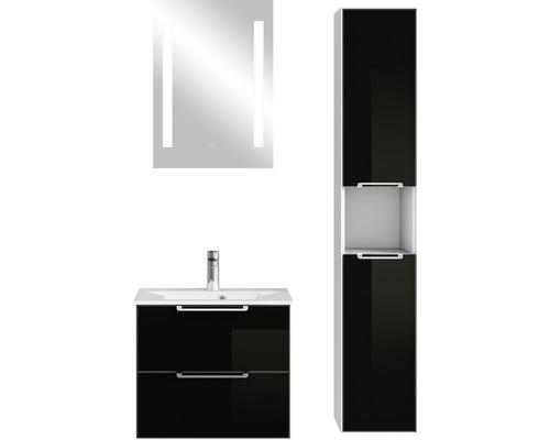 Ensemble de meubles de salle de bains Pelipal Xpressline 3065 verre 63 cm noir avec miroir et armoire haute-0