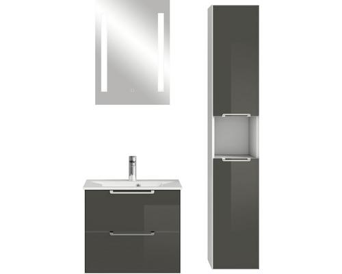Ensemble de meubles de salle de bains Pelipal Xpressline 3065 verre 63 cm gris avec miroir et armoire haute-0