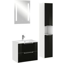 Ensemble de meubles de salle de bains Pelipal Xpressline 3065 verre 63 cm noir avec miroir et armoire haute-thumb-1