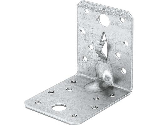 Winkelverbinder m. Sicke u. Fixierkralle 70 x 70 x 55 mm, sendzimirverzinkt, 1 Stück