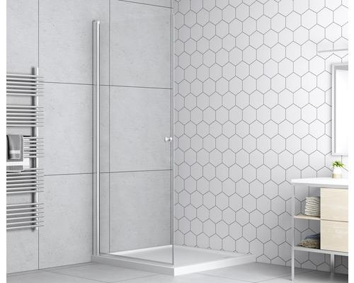 Porte pivotante basano Modena 75 cm, en verre transparent, profilé couleur chrome