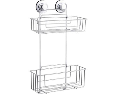 Étagère multifonctions à deux étages chromée, fixation par ventouses