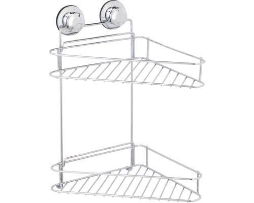 Étagère d'angle à deux étages chromée, fixation par ventouses