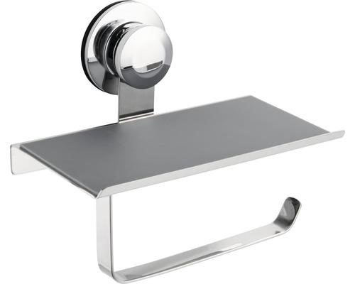 Dérouleur papier toilette chromé avec tablette chromé et fixation par ventouses