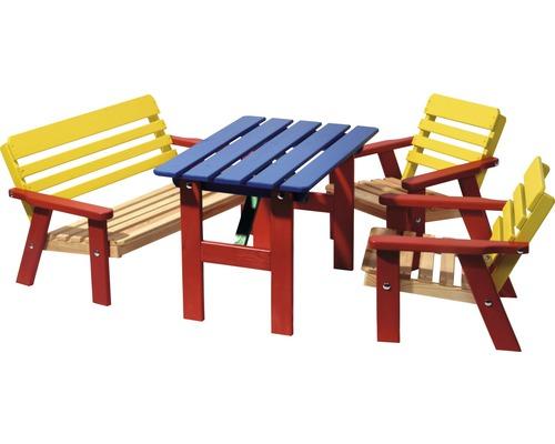 Salon de jardin pour enfants bois 4 places 3 pièces multicolore