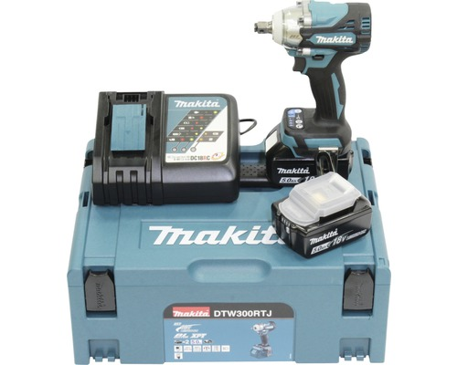 Visseuse à chocs sans fil Makita DTW300RTJ 18V, avec 2 batteries (5,0Ah), chargeur et MAKPAC T.2