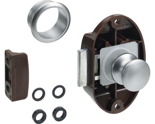 Serrure pour meubles Push Lock Maxi kit complet marron argent