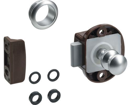 Serrure pour meubles Push Lock Mini kit complet marron argent