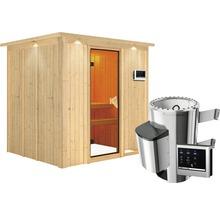 Sauna Plug & Play Karibu kit économique Maria avec poêle 3,6 kW, commande extérieure et frise de toit-thumb-2