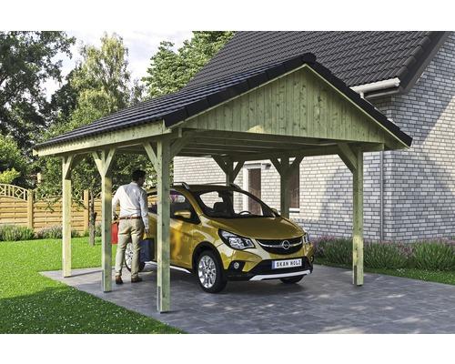 Carport simple SKAN HOLZ Wallgau avec lattis et ancrage pour poteaux H 430 x 500 cm imprégné