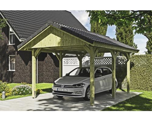 Carport simple SKAN HOLZ Wallgau avec lattis et ancrage pour poteaux H 380 x 500 cm imprégné