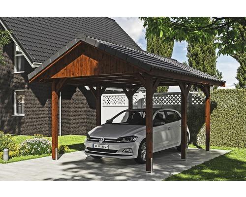 Carport simple SKAN HOLZ Wallgau avec lattis et ancrage pour poteaux H 380 x 500 cm noyer