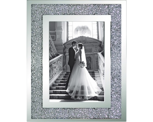 Portraitrahmen Glitzer grau 10x15 cm