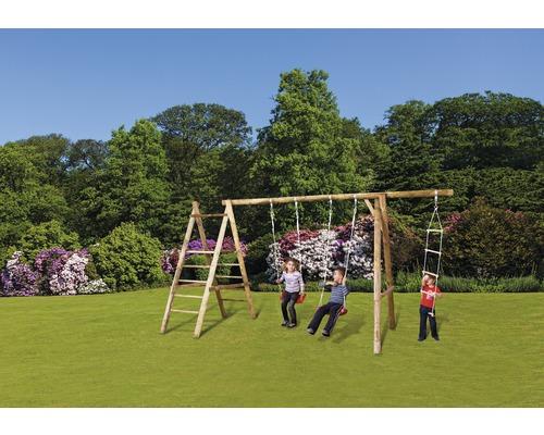 Balançoire double bois vert avec portique d''escalade, palier et échelle de cordes