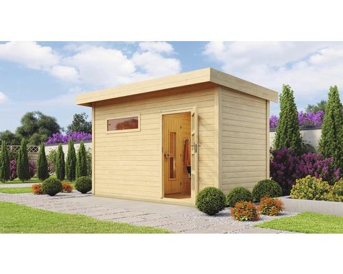 Chalet sauna Weka Farsund sans poêle, avec fenêtre et porte en bois avec verre à isolation thermique