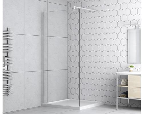 Paroi latérale pour douche à l''italienne basano Modena 800 verre véritable transparent clair aspect chrome-0