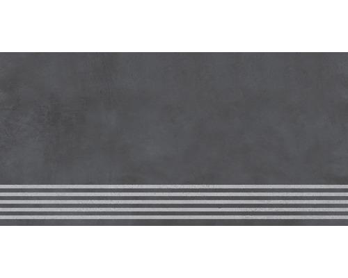 Carrelage de marche Cementine anthracite 30 x 120 cm
