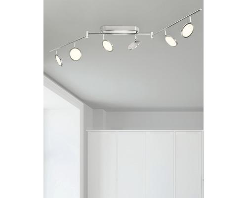 Plafonnier LED Pluto Easydim fer/blanc avec 6ampoules 6x500lm 3000K blanc chaud l 1500mm