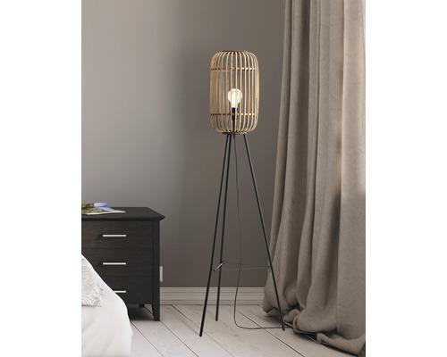 Lampadaire à trépied Woodrow métal/rotin 1 ampoule hxØ 1300/450 mm naturel/brun avec interrupteur à pied