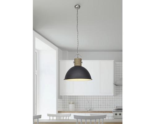 Suspension 1 ampoule Ø 470mm Frieda couleurs du bois/noir