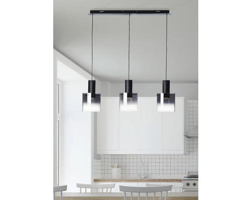 Suspension LED Hobey noir/verre fumé 3x8W 3x800 lm 3000 K blanc chaud l 1000 mm