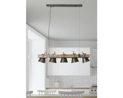 Suspension à 5 ampoules hxl 1150/950 mm Decca bois/métal marron/noir-acier