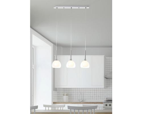Suspension Hadan 3 ampoules hxl 1200/660 mm chrome/transparent/blanc