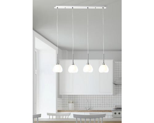 Suspension Hadan 4 ampoules hxL 1200/910 mm chrome/transparent/blanc