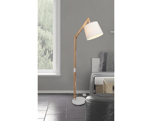 Lampadaire Carlyn 1 ampoule pin/blanc