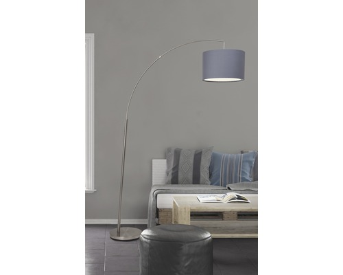 Lampe courbée 1 ampoule H1800mm Clarie fer/gris
