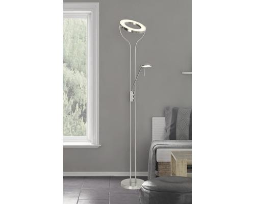 Plafonnier LED 18W 1600/380lm 3000K blanc chaud H1950mm Demian avec lampe de lecture fer/chrome