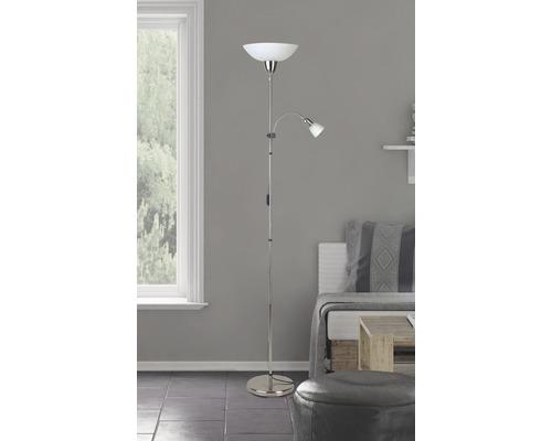 Plafonnier + lampe lecture 2 ampoules H1,78 m Darlington fer/blanc