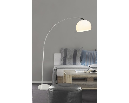 Lampe courbée 1 ampoule H1,66 m Vessa blanc/chrome lampadaire