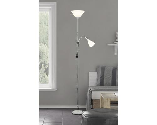 Plafonnier LED + lampe de lecture 10W 810lm 2700K blanc chaud H1,80 m Spari argent/blanc