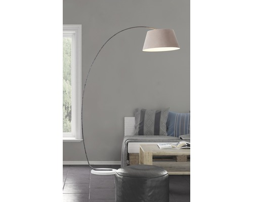 Lampe courbée béton/métal/textile Brok gris/marron hxl 1960/500 mm avec interrupteur pédale